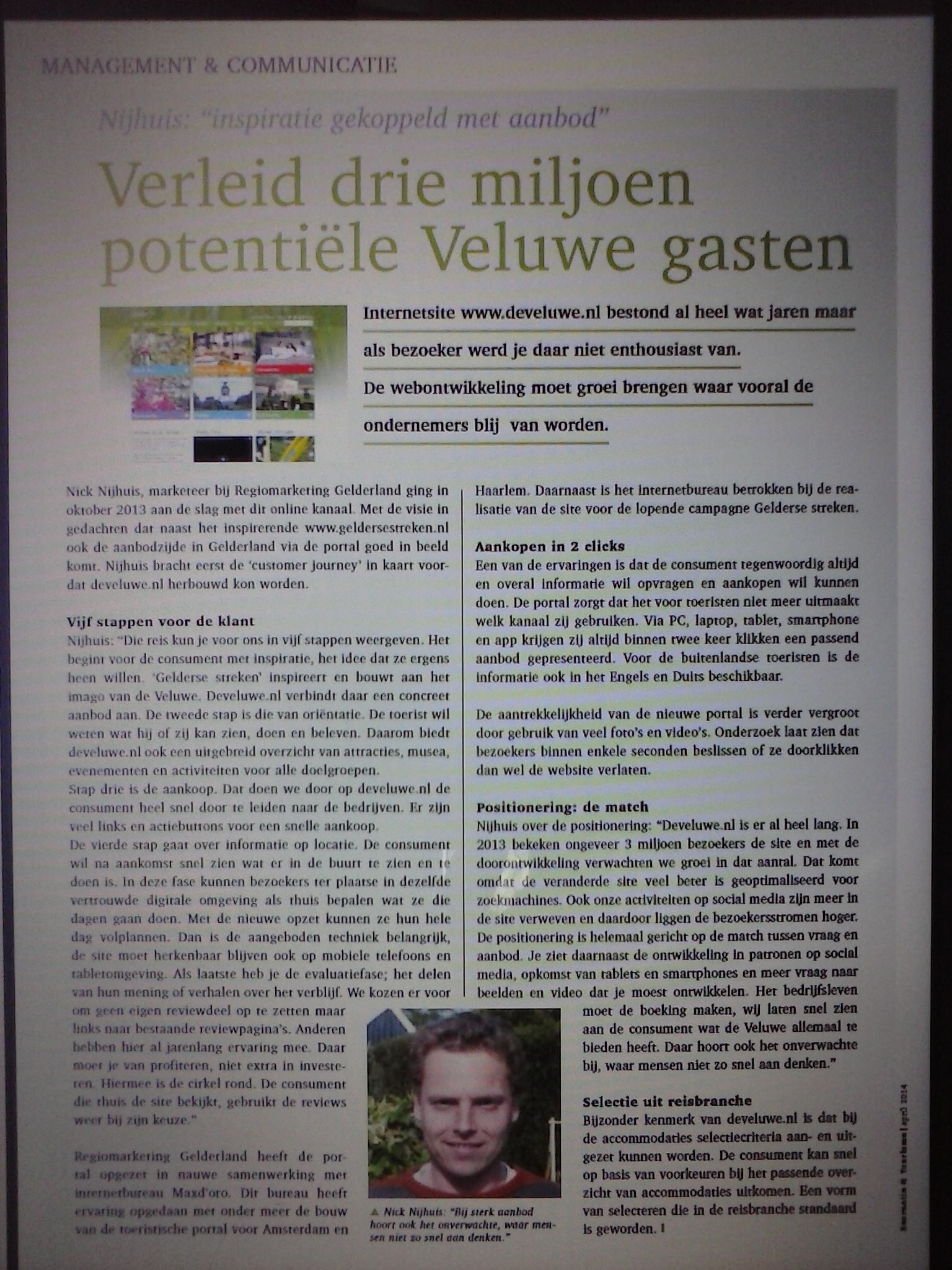 Artikel online marketing Nick Nijhuis Recreatie en Toerisme april 2014