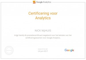 Certificaat Google Analytics Nick Nijhuis NickLink