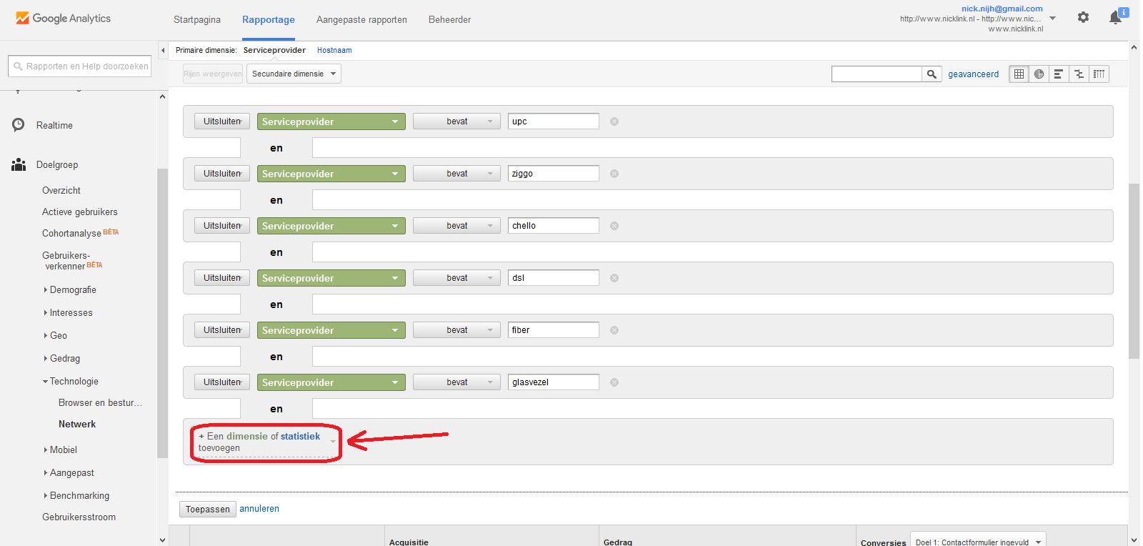 Google Analytics rapportage netwerk geavanceerd filter uitbreiding omcirkeld