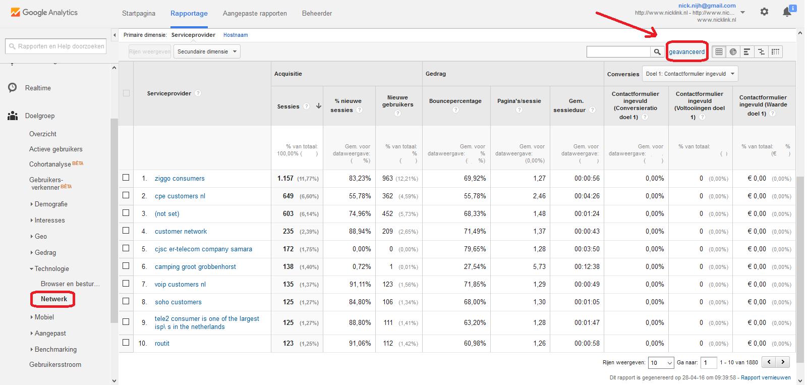 Google Analytics rapportage netwerk geavanceerde selectie omcirkeld