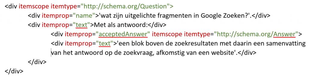 Code microdata schema.org vraag en antwoord