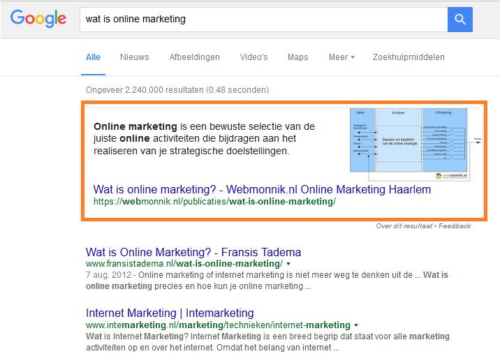 Google antwoord op vraag wat is online marketing