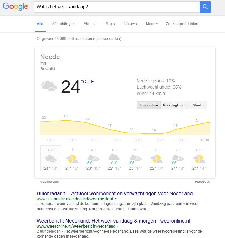 Google geeft direct antwoord op vraag wat het weer wordt