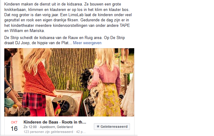 Voorbeeld Facebook event gericht op vrouwen en gezinnen