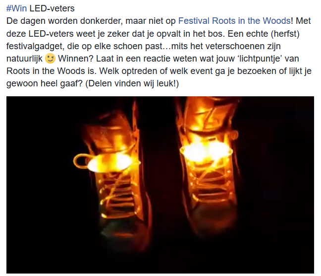 Post over populaire winactie rondom LED-veters bij Facebook Marketing