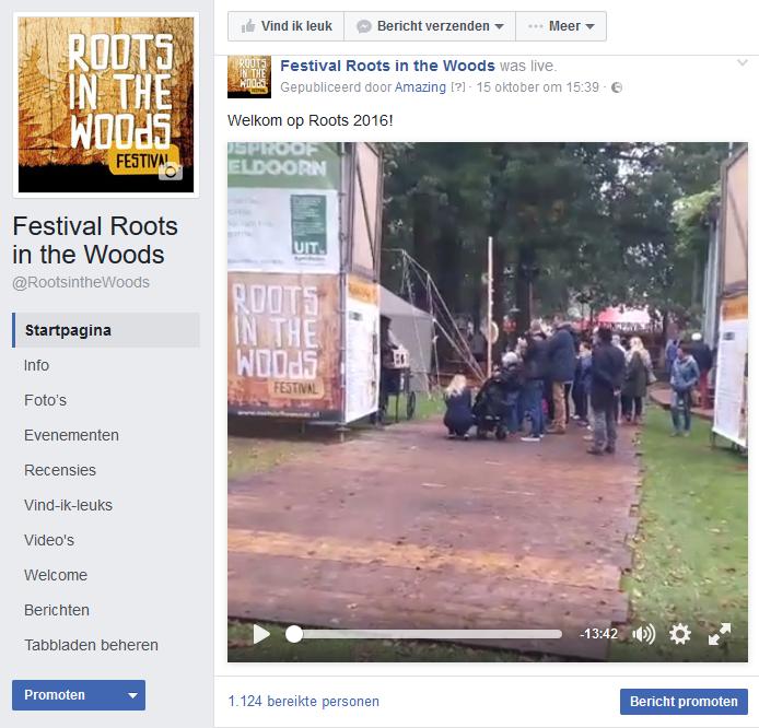 Voorbeeld facebookpost live video bij Facebook Marketing