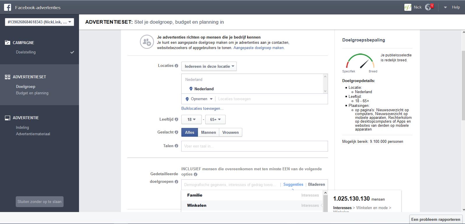Menu doelgroepselectie Facebook