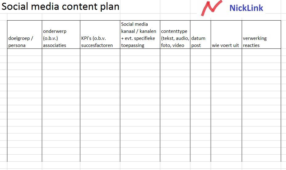 Social media content plan of social media content kalender