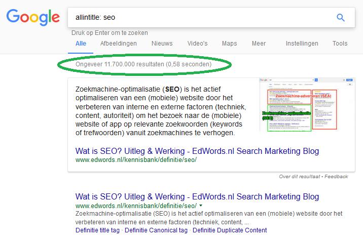 Allintitle zoekopdracht in Google om concurrentie op keywords voor seo vast te stellen