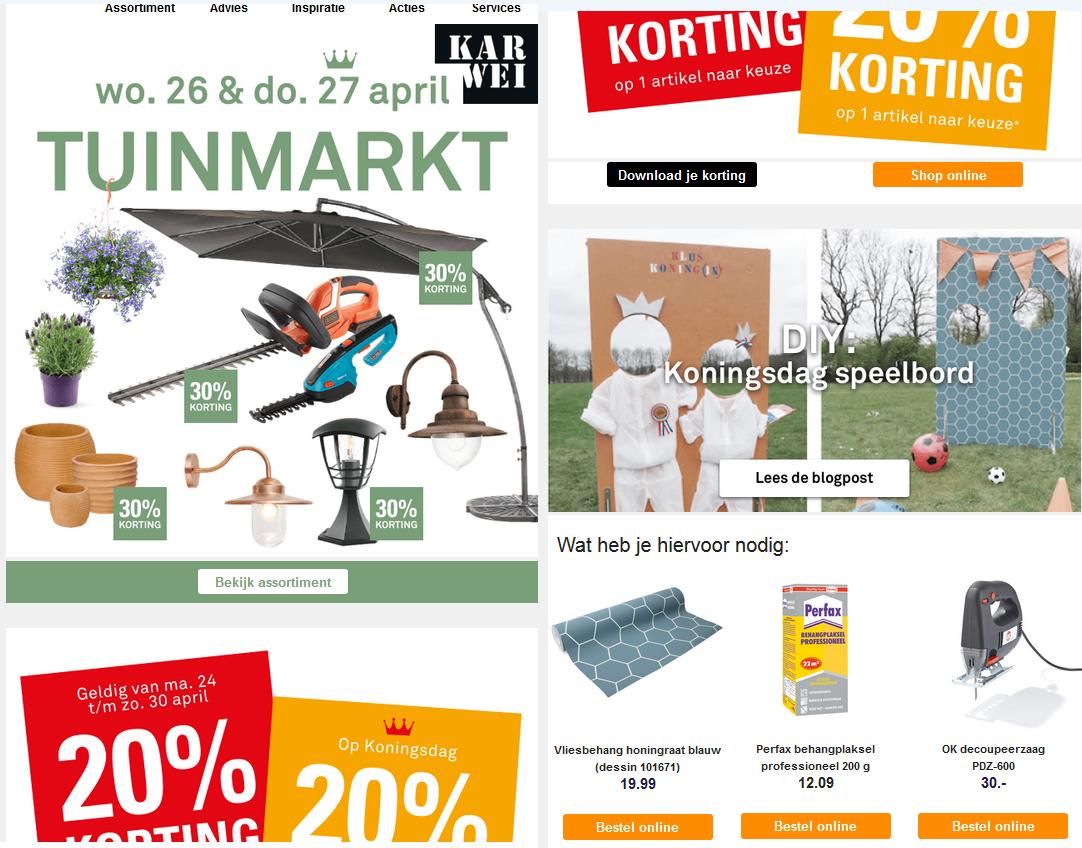 e-mail nieuwsbrief Karwei met veel afbeeldingen voor effectieve e-mail marketingcampagne