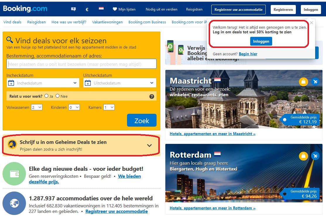 Homepage booking.com Meer online conversie en verkoop door schaarste