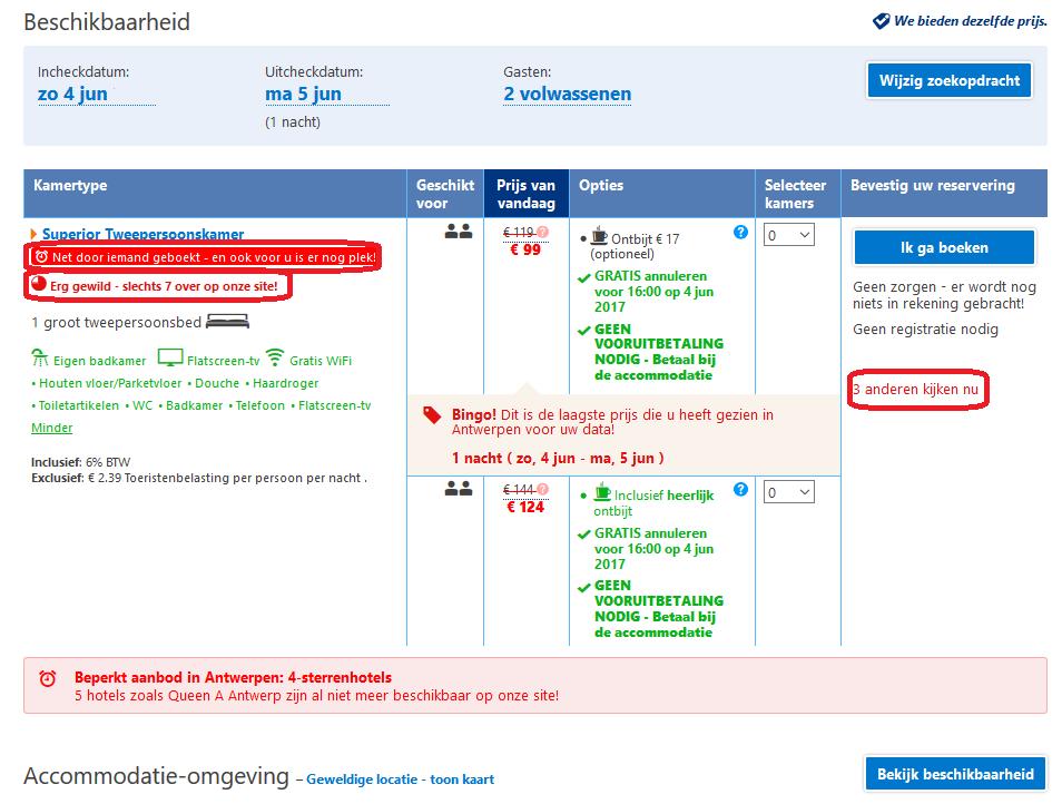 Overzichtspagina Booking.com Meer online conversie en verkoop door schaarste