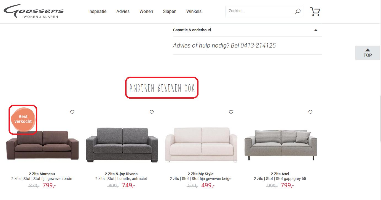 Sociaal bewijs op site Goossens bij verkoop meubelen