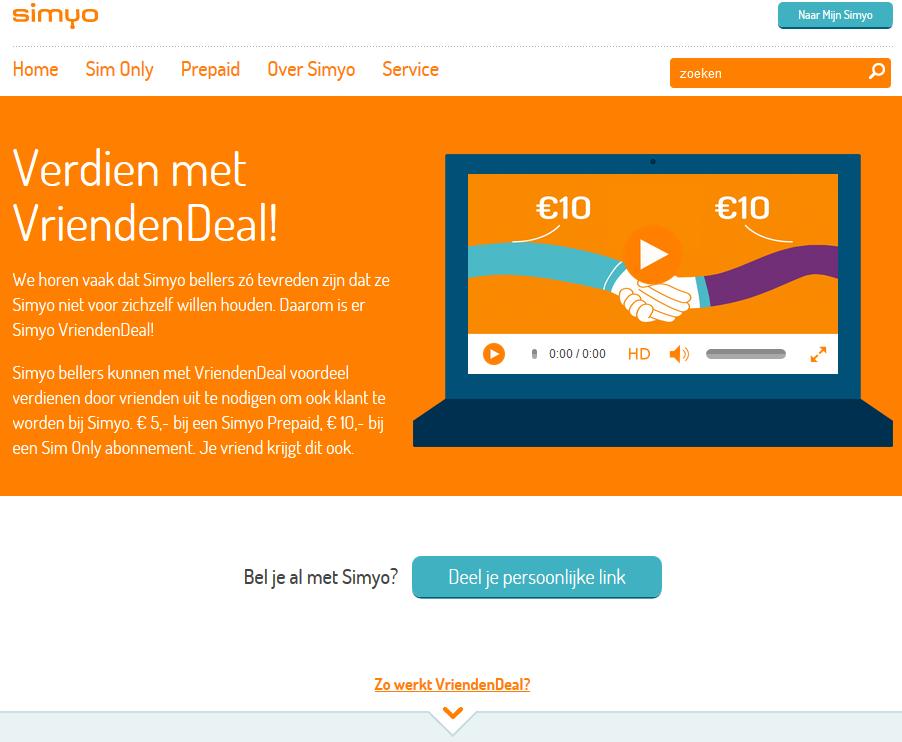 Simyo vriendendeal voor meer online sales en verkoop