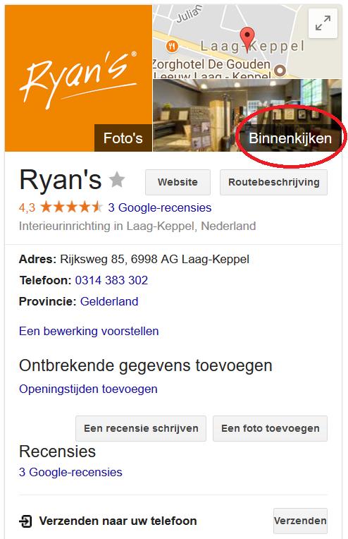Voorbeeld Knowledge Panel Ryans met Google Maps Street View Binnenkijken optie omcirkeld
