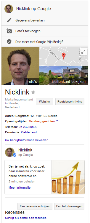 Weergave post in Knowledge Graph bij bedrijfsinformatie