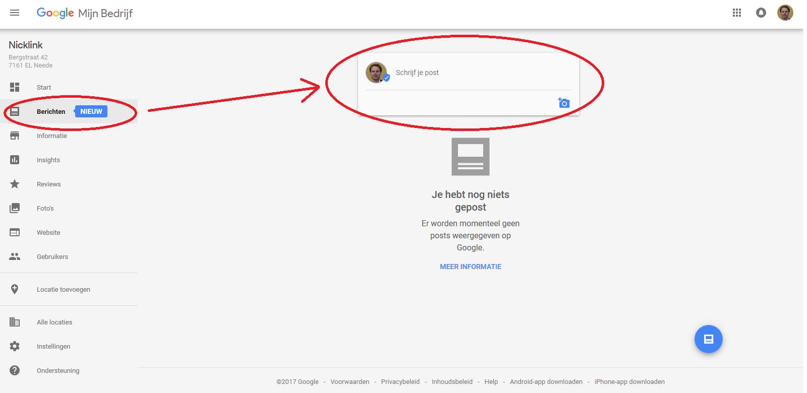 Startpagina met aanwijzingen voor starten posts Knowledge panel via Google Mijn Bedrijf