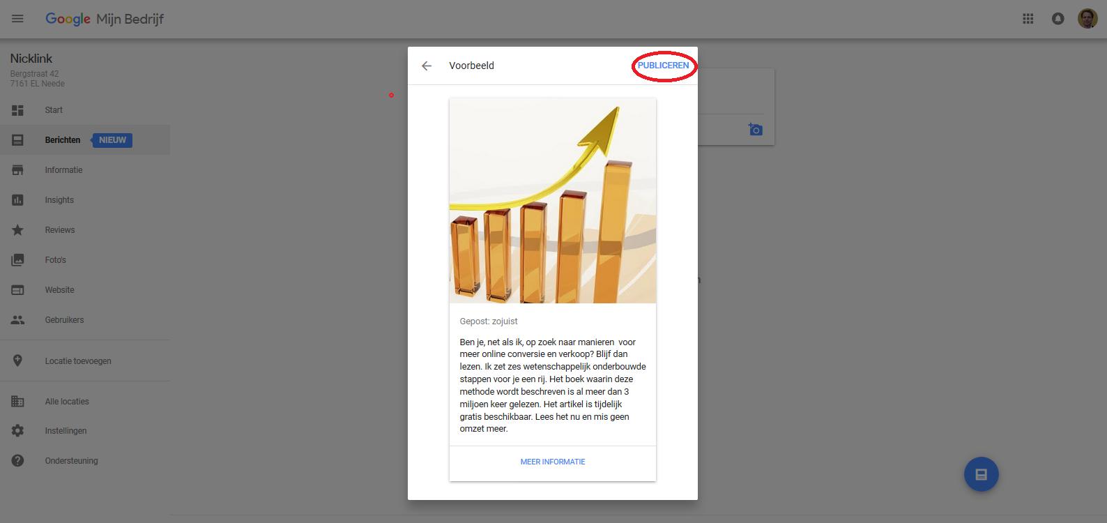 Voorbeeldscherm met keuzes voor button, event en publiceren bij post Google Mijn Bedrijf