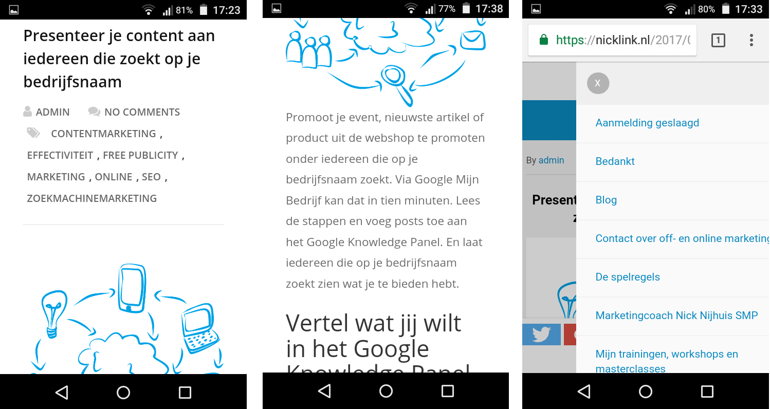Screemshots van blogartikelen op Accelerated Mobile Page
