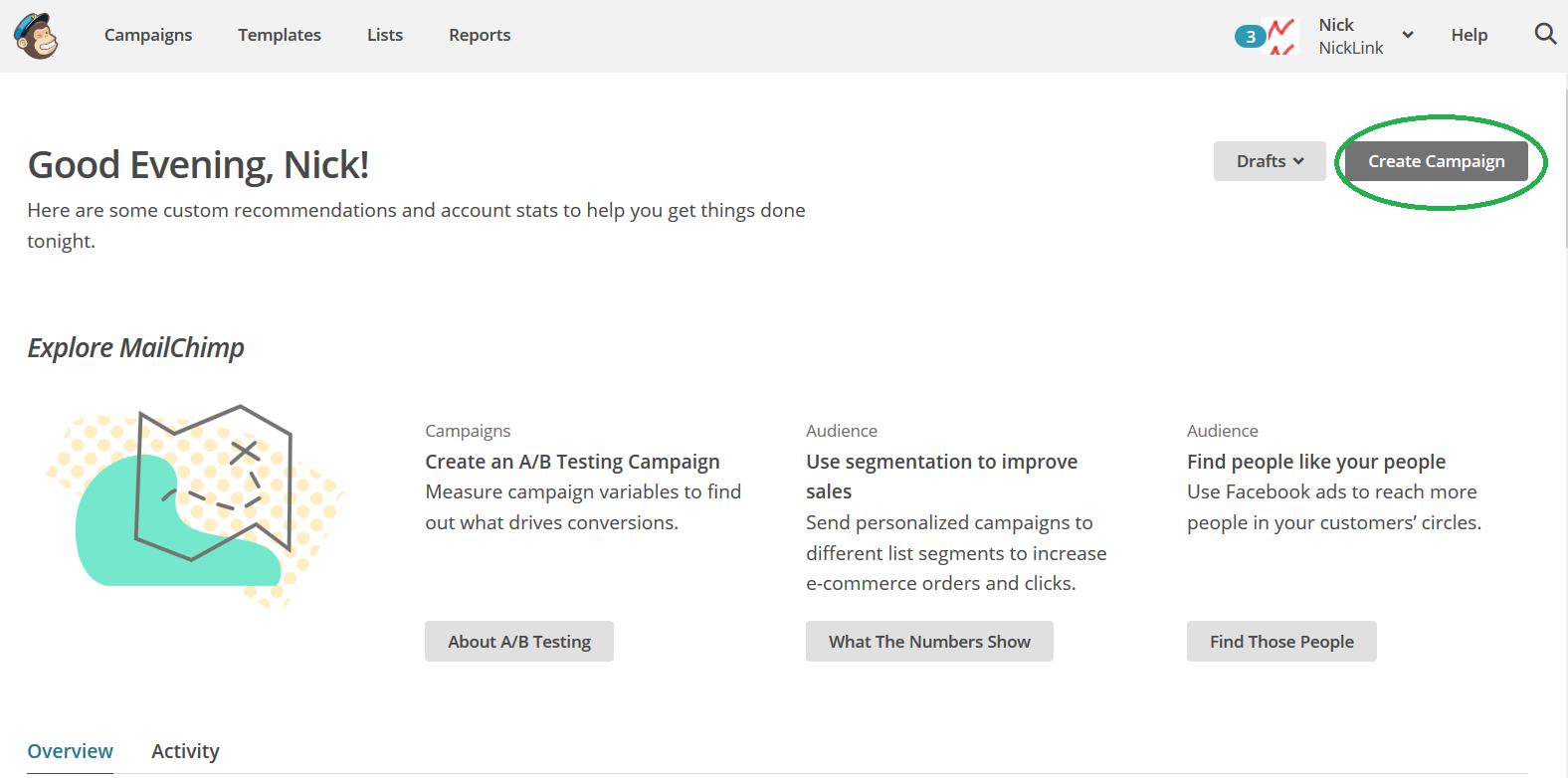 Mailchimp homepage create campaign omcirkeld