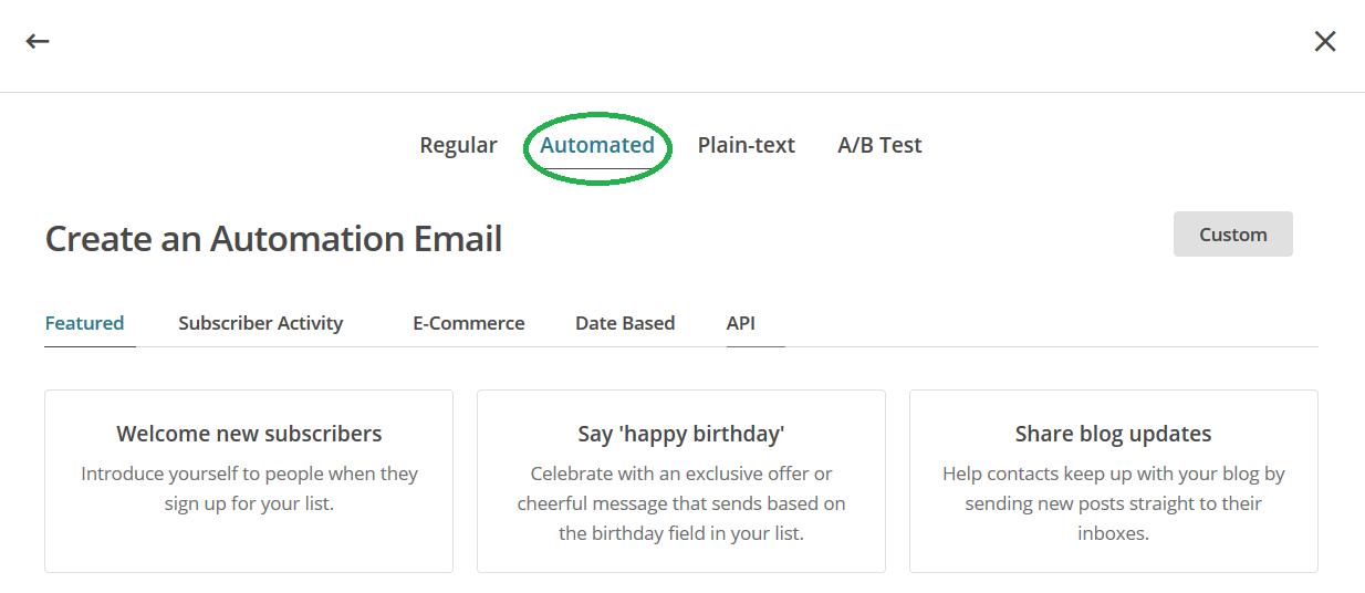 Mailchimp keuze soort e-mail omcirkeld