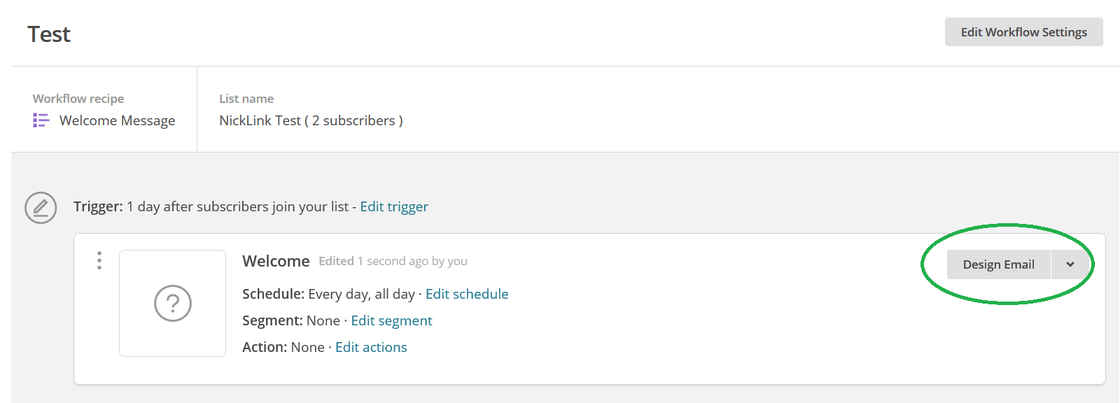 Mailchimp trigger marketing automation design e-mail omcirkeld