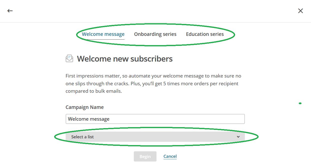 Mailchimp welkom nieuwe inschrijvers keuze omcirkeld