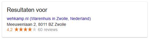Review in Google van Wehkamp