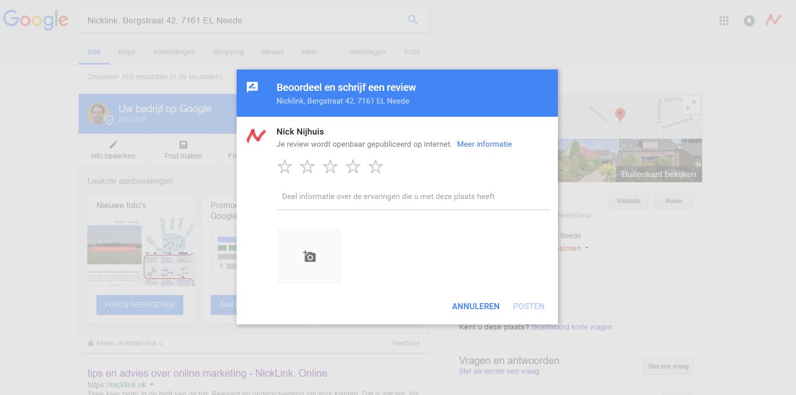 Uitnodiging om review via Google Mijn Bedrijf te geven
