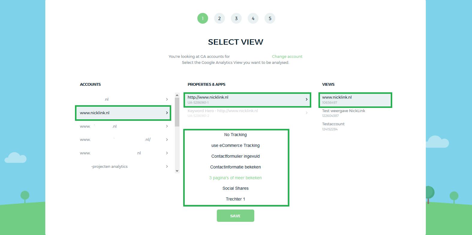 1e stap account maken Keyword Hero, kies account, property, view en doel