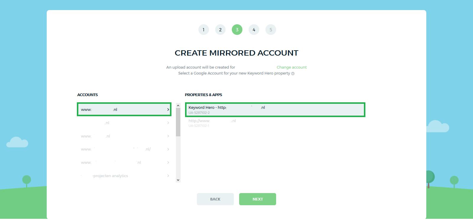 Property maken om zoekwoorden te kunnen vinden met Keyword Hero in Google Analytics