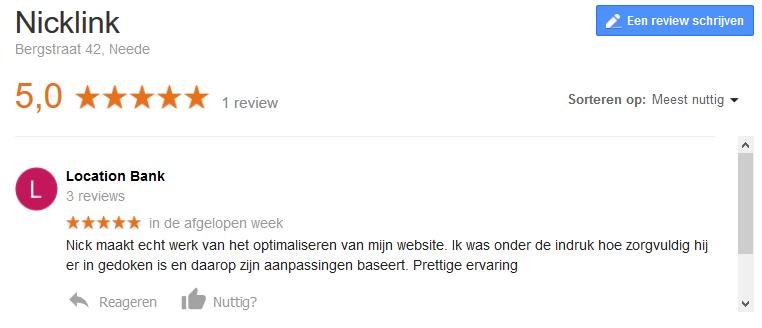 Review NickLink door klant met 5 sterren