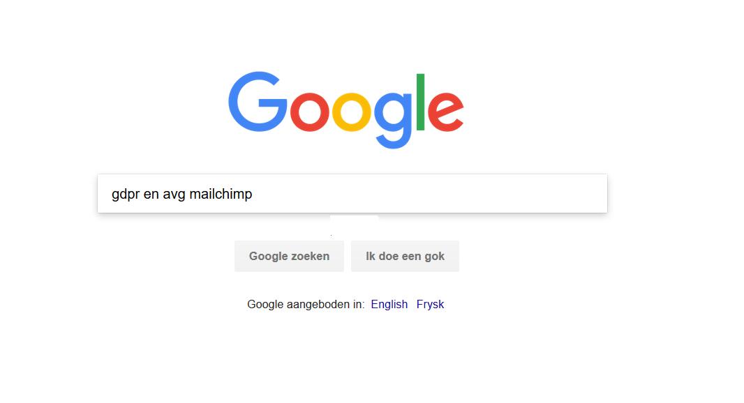 Startscherm Google met GDPR en AVG bij nieuwsbrief Mailchimp en Google analytics