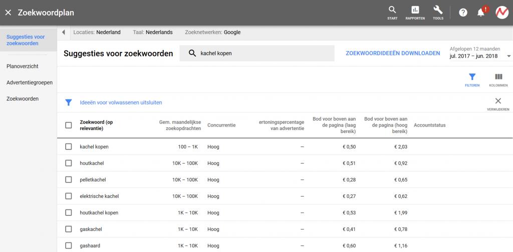 Google Ads zoekwoordsuggesties zoekwoordplanner