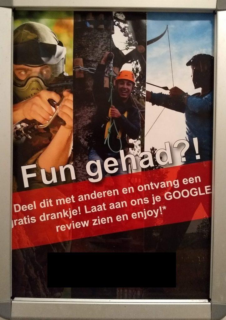 Oproep voor review op Google voor gratis drankje