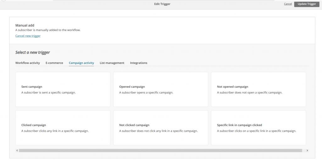 Mailchimp Mailchimp edit trigger custom e-mail marketing automation campagne