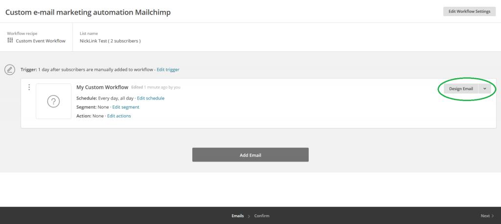 Mailchimp custom e-mail marketing automation campagne Design Email omcirkeld