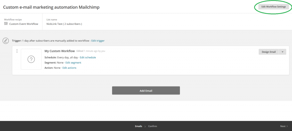 Mailchimp custom e-mail marketing automation campagne edit workflow settings omcirkeld
