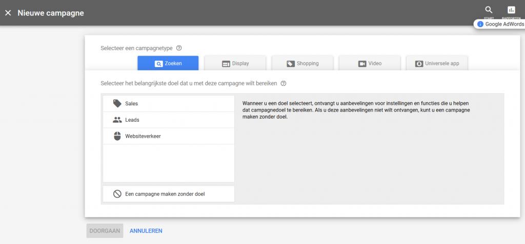 Nieuw campagnetype kiezen Google Adwords Ads zoekcampagne doelen kiezen