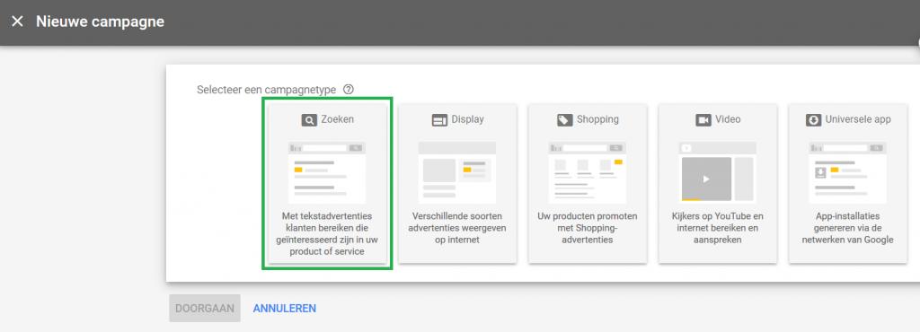 Nieuw campagnetype kiezen Google Adwords Ads zoekcampagne omkaderd