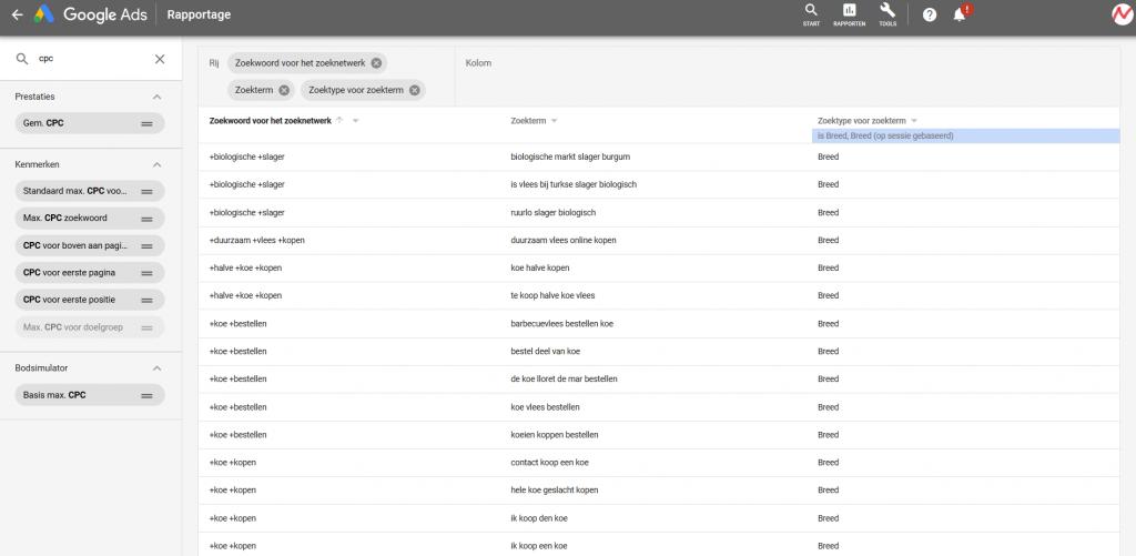 Google Ads zoektermen zoektype 'breed zoeken' en vertoningen bij zoekopdrachten, zoekwoorden, kliks en kosten Google