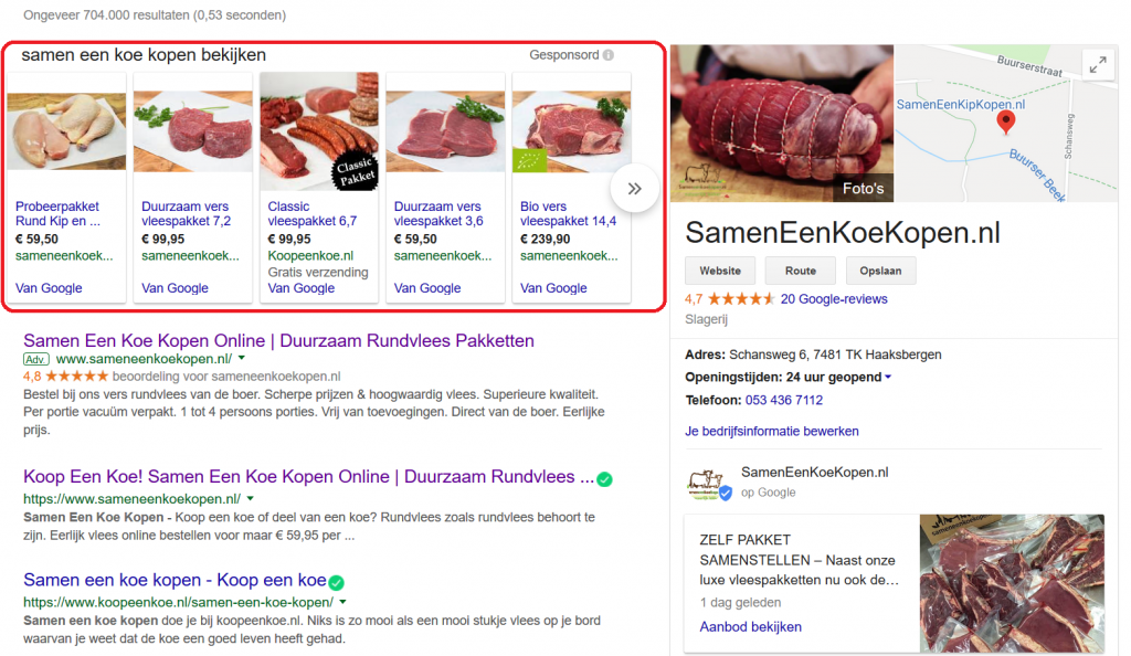Google shopping ads boven zoekresultaten weergegeven