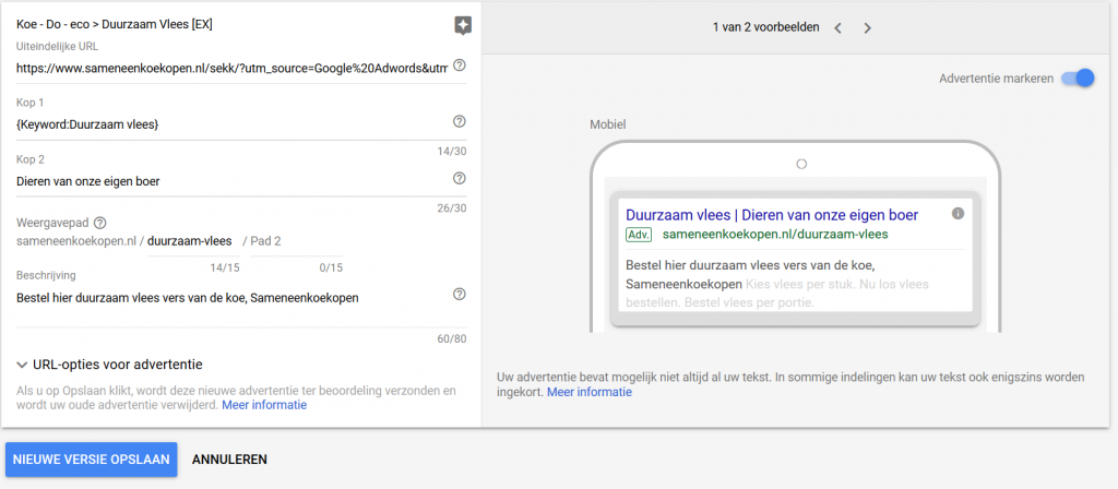 Google Zoekmachine advertentie vormgeving met keyword in dynamische kop