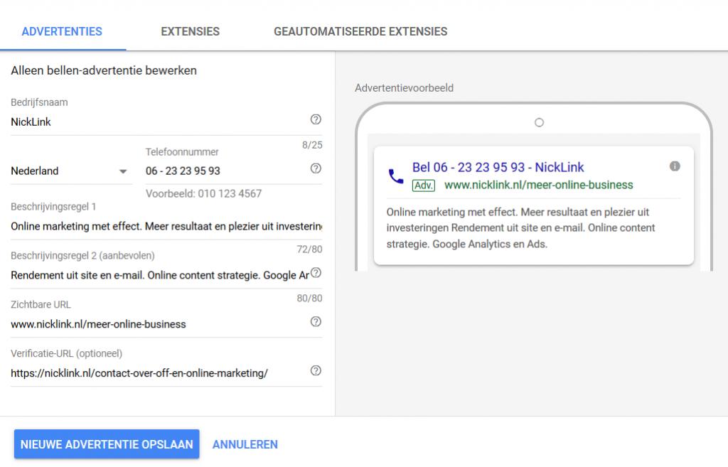 Google Zoekmachine alleen bellen advertentie ingesteld NickLink