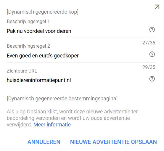 Google Zoekmachine dynamisch gegenereerde advertentie vormgeving