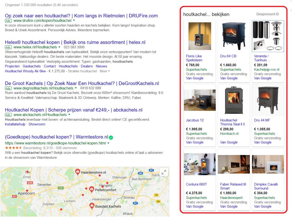 Google shopping advertenties naast zoekresultaten weergegeven
