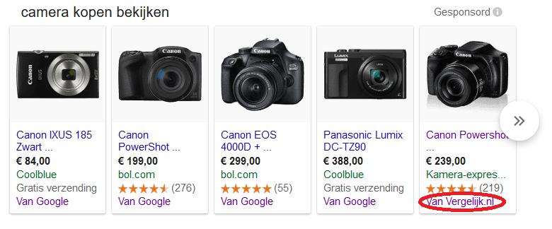 Voorbeelden Google shopping ads met verschillende CSS'en (services voor prijsvergelijking)