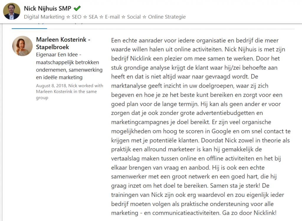 Review NickLink positief door klant Marleen Kosterink