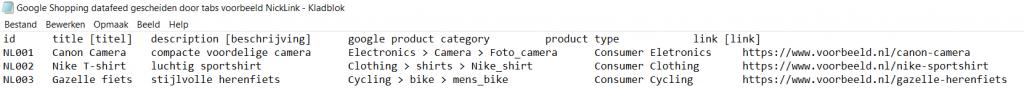 Voorbeeld Google Shopping feed als tekstformat gescheiden door tabs