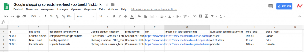 Voorbeeld Google Shopping spreadsheet-feed